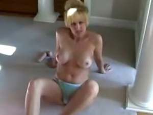 Housewife with big tits fucks dildo while blowing husband
