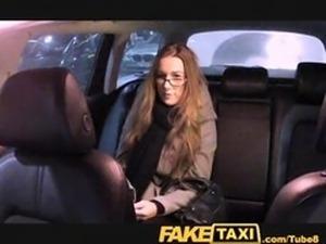 FakeTaxi Cutie with glasses fucks for rent money