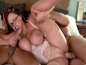 Thick babe with 36DD tits and a 38 inch ass gets caught in the act by her...