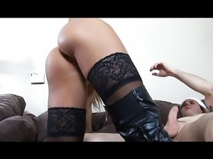 Black boots blonde with hungry pussy working