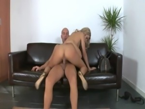 Pierced blonde latina loves riding cock on office floor free