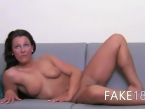 Hot glamour wants to suck a cock on sofa