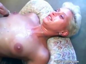 Sexy blonde MILF gets her last gangbang