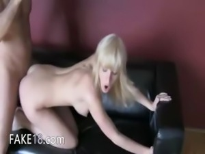 Lucky man fucking elegant babe on couch