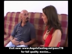 Amateur brunette sweet talking with big guy and taking a walk free