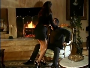 Beautiful porn star Tera Patrick rides a big hard dick and gets doggy style