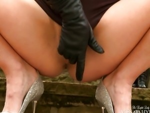 Leather glove squirt outdoors