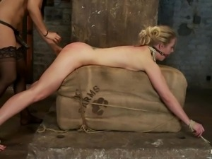 tied blonde's ass fucked hard with oily dildo