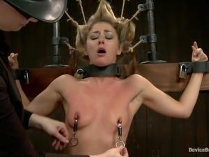 blonde in bondage device