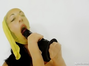 Teen first timer wears nylon mask and nylon pantyhose on her body and...