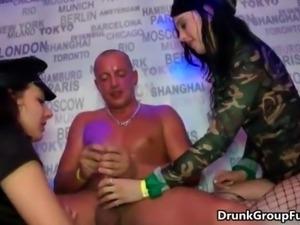 Horny sluts go crazy sucking cocks