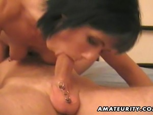 A brunette amateur Milf homemade hardcore action with a pierced cock:...