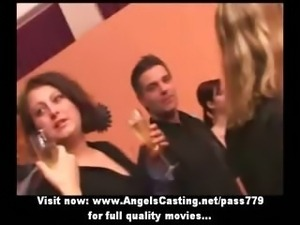Drunken sex orgy with hot teen chicks dancing and flashing panties