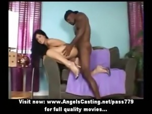 Amateur amazing brunette babe with small tits gets her pussy licked on the couch