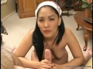 Pretty asian bunny down on a man's hard winkie