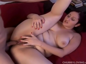 Very sexy brunette with lovely large boobs gets fucked every which way and...