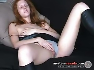 British redhead fingers under panties upskirt on futon