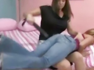 Mother Spanking Her Girls Ass To Red Using Belt In The Room