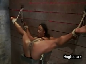 Black muscle babe tied up and fisted free