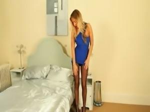 Incredible blondie teasing in high heels