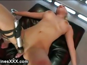 Busty bdsm blindfolded blonde machine fucked and pussy vibed
