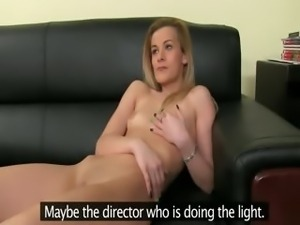 Fake agent fucking with shy blondie babe