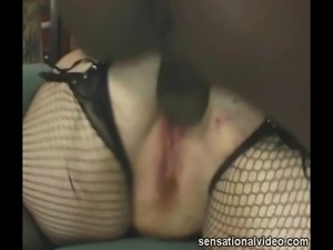 Redhead BBW Slut Sucks Big Black Cock
