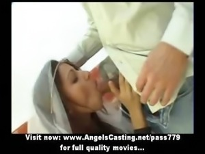 Stunning redhead bride doing blowjob