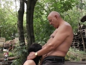 old man gets outdoor blowjob