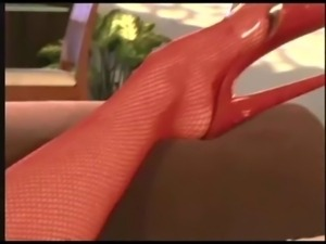 Jayna fucking in red fishnet stockings and heels free