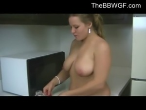 Horny Fat Ex GF playing with her Big Tits- free