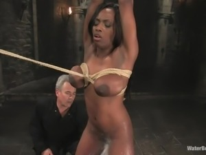 big boobs ebony milf tied and washed real good