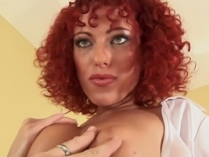 Curly redheaded slut hot blowjob