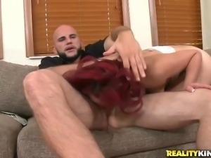 redhead latina get fucking on a couch