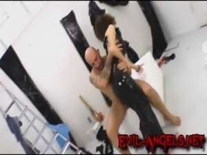 Poor babe double anal fucked and wrapped in black plastic free