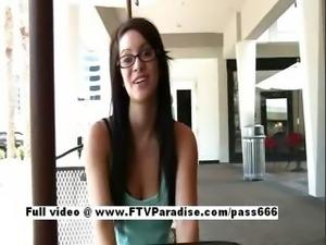 Lovely Gorgeous brunette naked girl flashing