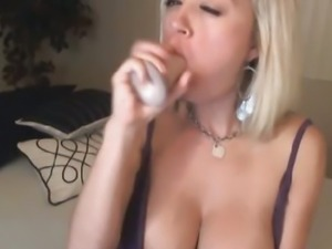 Hot Busty Blonde Rides Big Dildo HD