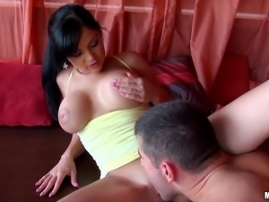 amazing brunette getting her shaved pussy licked