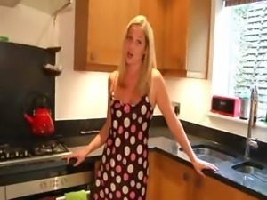 Kitchen teasing of sexy 21yo girl