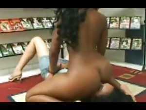 Black mistress smother white girl at the video store