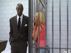 Blonde In Jail Fucks A Black Cock