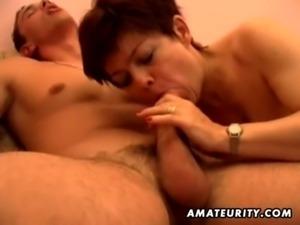 Busty amateur Milf sucks and fucks with cumshot free