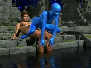 Blue Alien pussy gets pounded