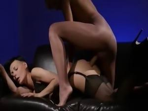 neat brunette sucking penis of rubber
