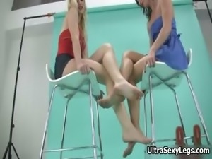 Sexy blonde and brunette slut gets horny
