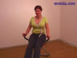 Chubby cutie gets fucked on exercise machine free