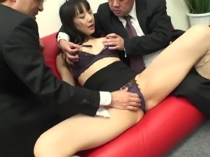 japanese milf with floppy tits gets clit rubbed