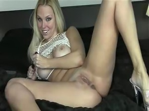 Playful Blonde Masturbates