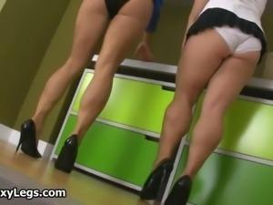 Hot brunette babes on high heels get