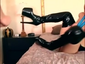 Black thigh high boot sex with a leggy brunette free